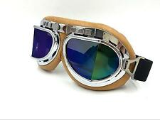 Wwii RAF Aviator Pilot Motorcycle Goggles Cruiser Moped Biker Tinted Lens Chrome