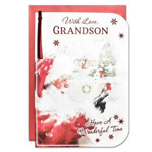 GRANDSON CHRISTMAS CARD ~ LARGE SIZE QUALITY CARD ~ TRADITIONAL SANTA DESIGN