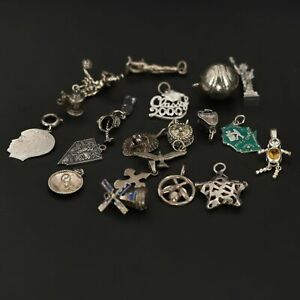 VTG Sterling Silver - Lot of Assorted Travel Bracelet Charms 20 NOT SCRAP - 41g