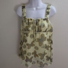 Top Blouse Medium Yellow Tank Cami Sheer Casual Butterfly Print