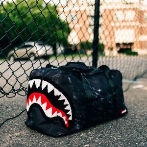 Brand New SPRAYGROUND Chenille Black Marble Shark Duffel Bag