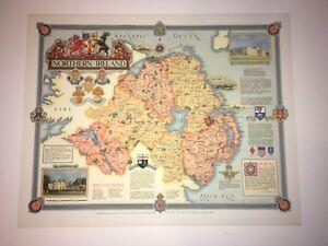 Northern Ireland Map Designed & drawn Ernest Clegg 1947 | Historic vintage Print