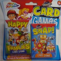 Grafix Card Games Pack Happy Families & Snap! 2 Packs of Cards & Instructions