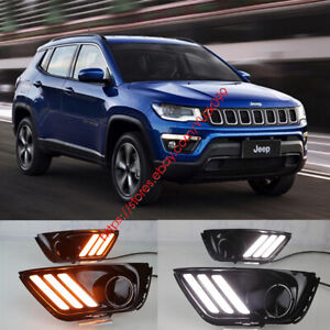 2PCS DRL FOR JEEP COMPASS 2017 2018 LED DAYTIME RUNNING LIGHT WITH TURN SIGNAL W