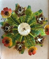 "Vintage Italian Toleware Light Fixture Sconce Floral Leaves  15x7"" 5 Lights"