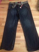 Mens 34 / 30 Cherokee BNWT Blue Denim Jeans Belt Distressed Free UK Post B11