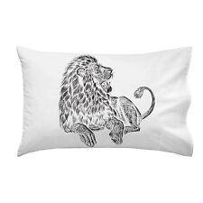 Majestic Lion Big Cat Jungle King Black & White Artwork Single Pillow Case Soft