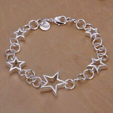 Silver multi Star chain link Bracelet NEW Beautiful 925P bangle