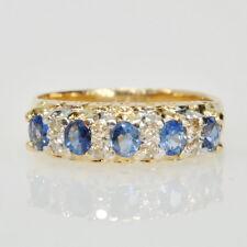 14k Yellow Gold Blue Sapphire & 1/5Cttw Diamond Anniversary Gemstone Band Ring