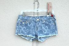 NWT TRUE RELIGION PALM LEAF CUT OFF Size 28 Hot Mini Denim Short Shorts Flaps