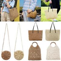 US Womens Straw Bag Woven Round Handbag Purse Crossbody Summer Boho Beach Bags