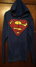 SUPERMAN JACKET W/HOOD MENS COAT SWEATSHIRT BLUE D C COMICS RED SIZE L LARGE NEW