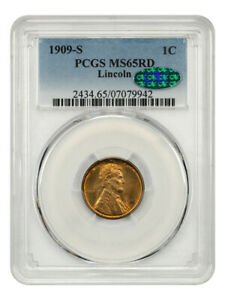 1909-S Lincoln 1c PCGS/CAC MS65 RD - Underrated First Year Lincoln