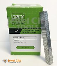 "Grex 20 Gauge Galvanized Staples 3/8"" crown 1/2"" Long - 5M T-50 Rapid 11"