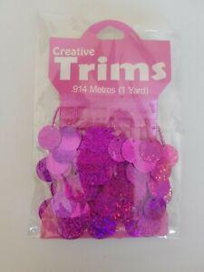 Glamour Trims Pink hologram .914m 1yard BN Dolls clothes craft dance (63)