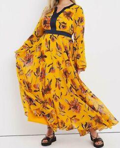 JOE BROWNS LADIES PRINTED MAXI DRESS OCHRE NEW (ref 247)