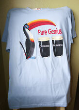 "NEW GUINNESS Stout ""Pure Genius"" Toucan Light Blue T-Shirt Mens Size SMALL"