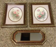 Homco Home Interior Matted Roses Pictures & Matching Mirror By Wyona Newton
