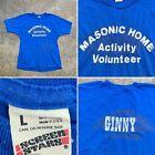 MASONIC HOME VOLUNTEER - Vtg 80s SCREEN STARS Blue T-shirt, Ginny, Mens MEDIUM
