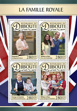 More details for djibouti 2016 mnh royal family queen elizabeth ii william & kate 4v m/s stamps