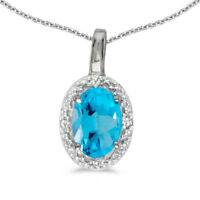 "14k White Gold Oval Blue Topaz And Diamond Pendant with 18"" Chain"