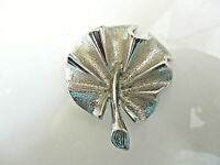"""Vtg SARAH COVENTRY Leaf Pin Brooch Silver Tone Wavy Signed Shiny 1 1/2"""" across"""