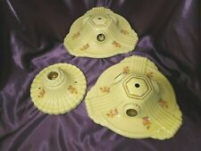 Vtg Shabby Chic Porcelain Ceiling Light Fixtures Petite Pink Flower Set 3