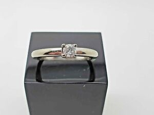 18ct White Gold Ring Solitaire Diamond Set 0.20 cart Size L 1/2
