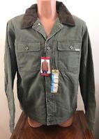 Woolrich Mens Medium M Telluride Canvas Work Jacket Barn Coat Green Fleece Lined