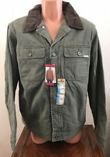 Woolrich Mens Large L Telluride Canvas Work Jacket Barn Coat Green Fleece Lined