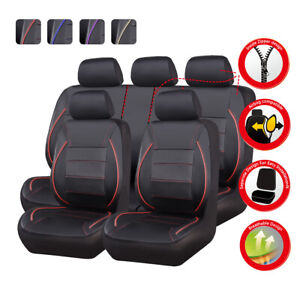 Universal Car Seat Covers Front Rear Airbag Red Black Leather for SUV VAN TRUCK