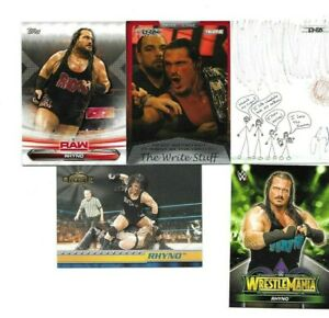TOPPS WWE TNA 5 RHINO WRESTLING CARDS SEE SCAN BORN IN DETROIT MICHIGAN