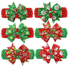 6 Pcs Christmas Boutique Hair Bow Baby Headband Grosgrain Ribbon Handmade