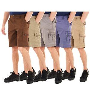 Mens Cargo Shorts Elasticated Waist Combat Pants Summer Casual Six Pockets Work