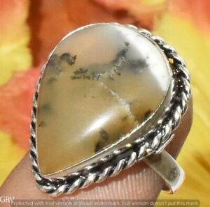 "Dendritic Opal Gemstone Handmade Ring 925 Silver Plated Us Size 7"" U372-C138"