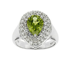 PEAR Sh PERIDOT /Zircon RING Gorgeous Pear SH Solitaire & Round Gems Size 8 NEW!