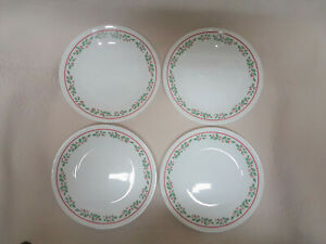 """Four (4) Bread Plates Corelle Winter Holly (Red Band) 6.75"""" Corning Xmas      L2"""