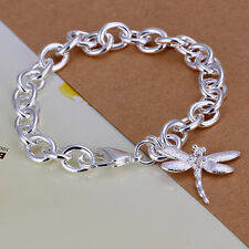 wholesale sterling solid silver fashion charms dragonfly Bracelet XLSB282