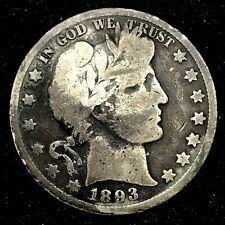 SCARCE: 1893-O SILVER BARBER HALF DOLLAR CIRCULATED COIN  .