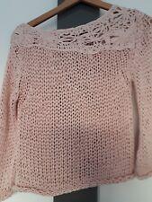 Crochet Grobstrick Bändchengarm  Pullover Gr. S rosa  neu