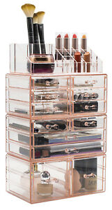 Extra Large Acrylic Makeup Organizer - 12 Drawers & 16 Comportments Storage Box