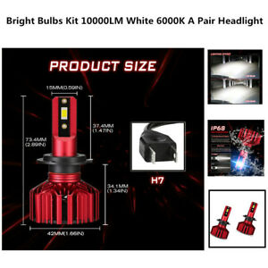 H7 LED Headlight Super Bright Bulbs IP68 rated waterproof White A Pair Lights