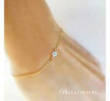 $550 NEW VICTORIAN 18K GOLD AQUAMARINE DIAMOND ART DECO 14K CHARM CHAIN BRACELET
