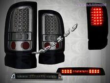 94-01 DODGE RAM LED TAIL LIGHTS SMOKE + L.E.D. 3RD BRAKE LIGHT SMOKE