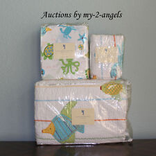 Pottery Barn Kids Summer Ocean Critters Beach Sealife Twin Quilt+Sham+Sheet Set