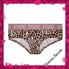 New Victoria's Secret PINK Nation Dog Logo Leopard Print Cheeky Panty Sz M