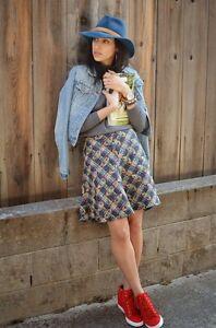 Zara cotton blend tweed multicolor geometric A-line skirt SIZE: XS, S , L