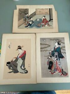 """3 20th century Japanese Woodcut woodblock prints one signed 8x12"""""""