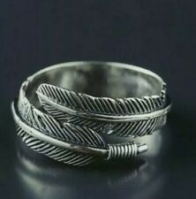 925 Sterling Silver Feather Ring Band Open Finger Fully Adjustable Jewelry GIFTS