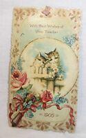 Antique Valentine 1905 Teacher vintage card ribbon hinged kittens embossed